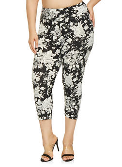Plus Size Floral Capri Leggings - 0965060582478