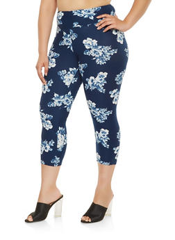 Plus Size Floral Print Capri Leggings - 0965060582992
