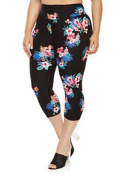 Plus Size Floral Capri Pants - 0965060583117