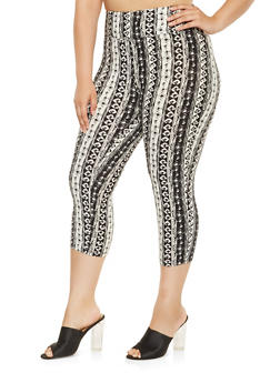 Plus Size Printed Capri Leggings - 0965060583124