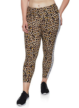 Plus Size Brown Print Leggings
