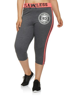 Plus Size Flawless Graphic Capri Sweatpants - 0965062703207