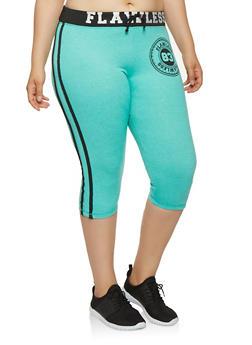 Plus Size Flawless Graphic Capri Sweatpants - 0965062703207