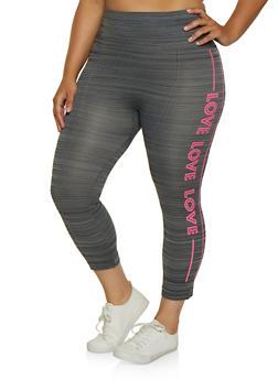 Plus Size Love Graphic Capri Leggings - 0965062900125