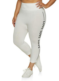 Plus Size Love Graphic Capri Leggings - 0965062900125