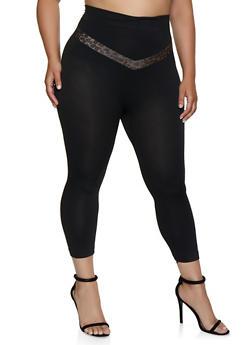 Plus Size Leopard Chevron Detail Leggings - 0965062901086