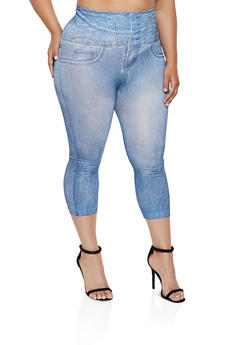 46f88b40adb307 Plus Size Jean Print Leggings - 0965062904858