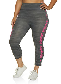 Plus Size Savage Graphic Capri Leggings - 0965062908612