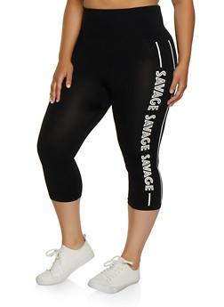 Plus Size Savage Graphic Capri Leggings - 0965062908612