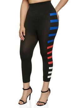 Plus Size Side Stripe Detail Leggings - 0965062909985
