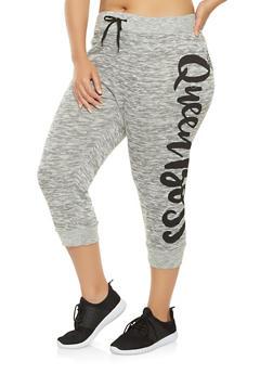 Plus Size Love Graphic Capri Sweatpants - 0965063405912