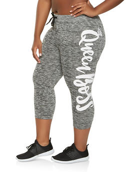 Plus Size Queen Boss Graphic Capri Sweatpants - 0965063406545