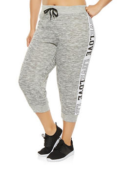 Plus Size Love Graphic Capri Sweatpants - 0965063406640
