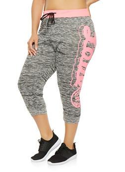 Plus Size Love Graphic Capri Sweatpants - 0965063407148