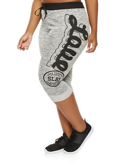 Plus Size Love Graphic Capri Sweatpants - 0965063407148