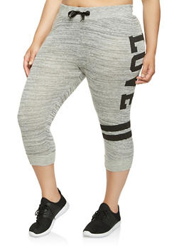 Plus Size Love Graphic Capri Sweatpants - HEATHER - 0965063407153