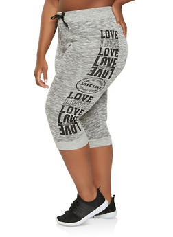 Plus Size Love Graphic Capri Sweatpants - 0965063407154