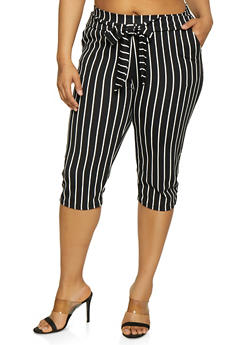 Plus Size Striped Tie Front Capri Pants - BLACK/WHITE - 0965074010032