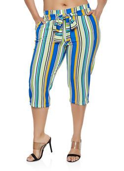 Plus Size Striped Tie Front Capri Pants - 0965074010032