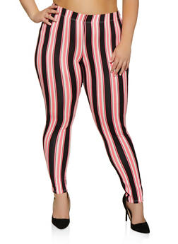 Plus Size Multi Stripe Soft Knit Leggings - 0969074010109