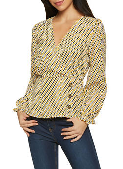 Geometric Faux Wrap Blouse - 1001015990566