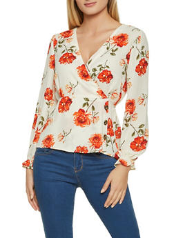 Floral Faux Wrap Top - 1001015990568