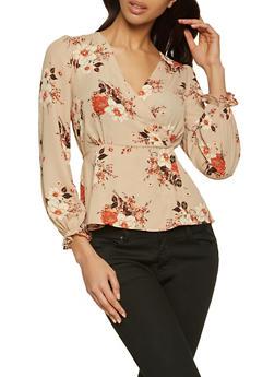 Floral Faux Wrap Blouse - 1001015990569