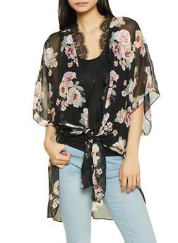 Floral Kimono with Tank Top - 1001015993214