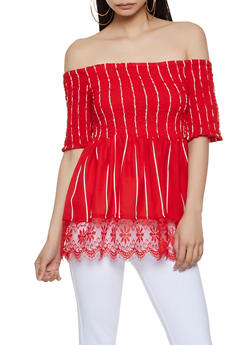 Smocked Off the Shoulder Striped Top | 1001038340613 - Red - Size S - 1001038340613