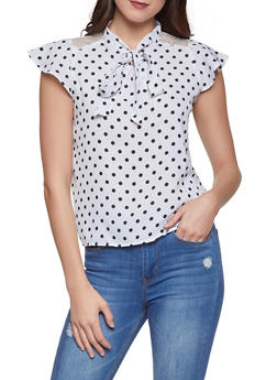 Lace Yoke Polka Dot Blouse - WHT-BLK - 1001038340614