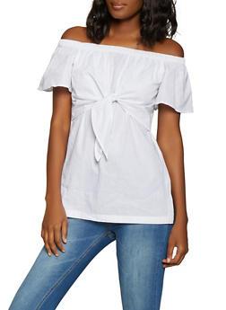 Tie Front Off the Shoulder Top - 1001038340632