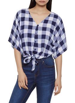 72629fba4 Plaid Tie Button Front Shirt   1001038340641 - 1001038340641