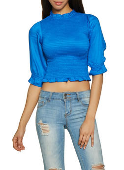 Ruffled Mock Neck Smock Top - 1001038340647