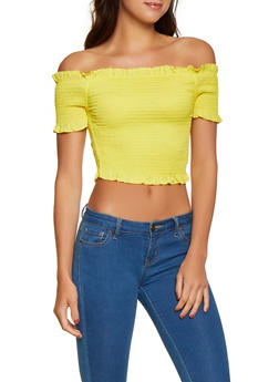Smocked Lettuce Edge Off the Shoulder Top - 1001038340648