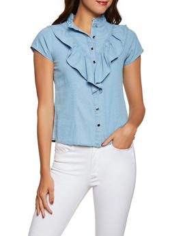 Denim Ruffle Button Front Shirt - 1001038340657