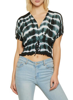 Tie Dye Lace Up Smocked Top - 1001038340658