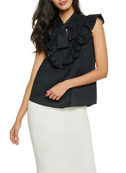 Ruffle Trim Tie Neck Top - 1001038340662