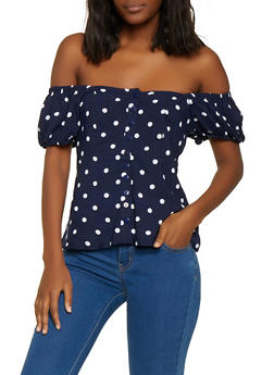 Polka Dot Button Front Top - 1001038340663