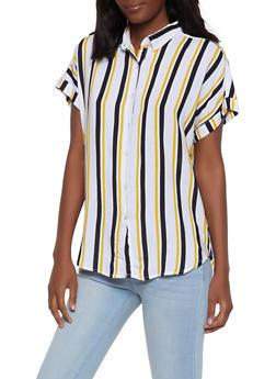 Striped Short Sleeve Shirt - 1001038340668