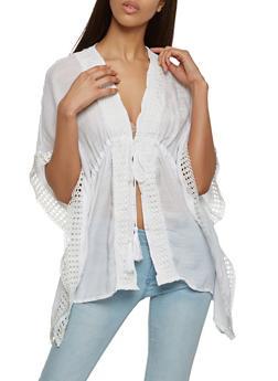 Gauze Knit Crochet Trim Kimono - 1001038349328