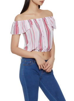 Striped Off the Shoulder Button Front Top - 1001051060645