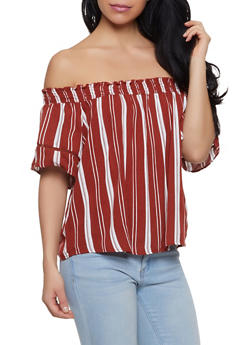 Striped Off the Shoulder Crochet Insert Top - 1001051060676