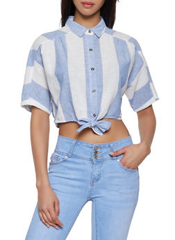 Striped Linen Tie Front Crop Top - 1001051060701