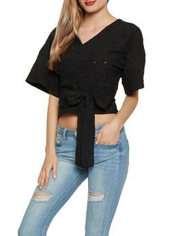 Eyelet Wrap Top - Black - Size M - 1001051060745