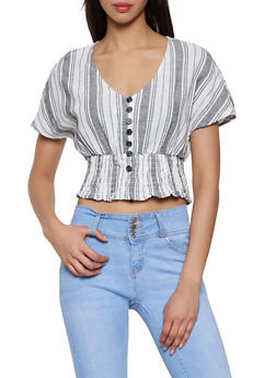 Striped Linen Button Front Top - 1001051060773