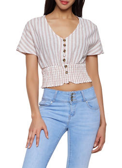 Striped Linen Button Front Top - 1001051060773