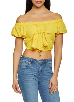 Off the Shoulder Tie Front Crop Top - 1001051060798