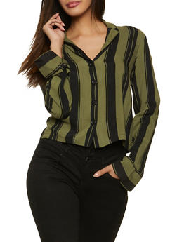 Button Front Striped Shirt - 1001051060868