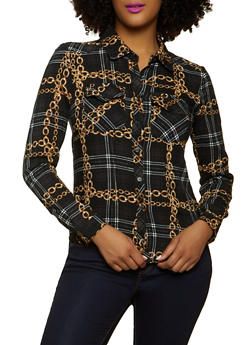 Plaid Chain Print Button Front Shirt - 1001051061098