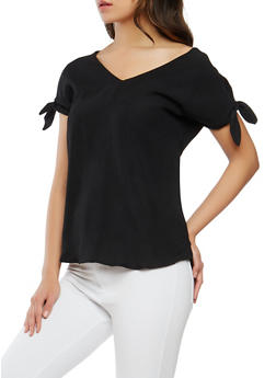 Tie Sleeve V Neck Top - 1001051069632